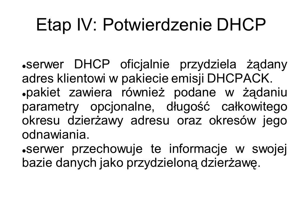 Etap IV: Potwierdzenie DHCP