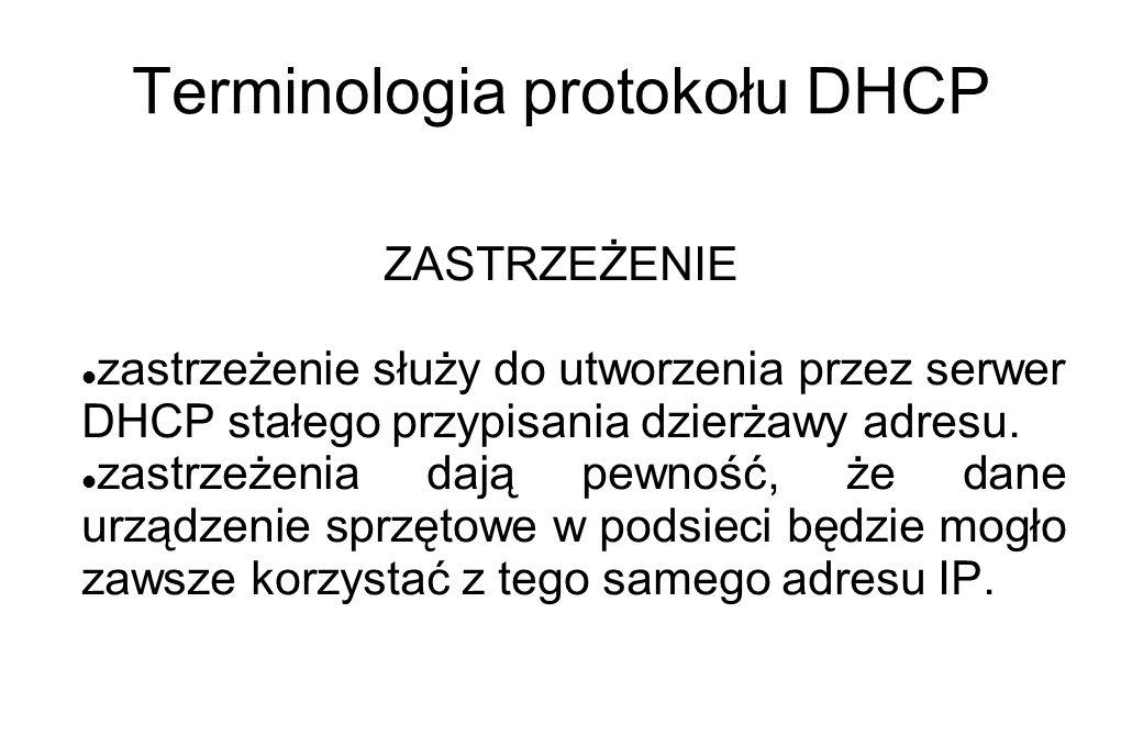 Terminologia protokołu DHCP