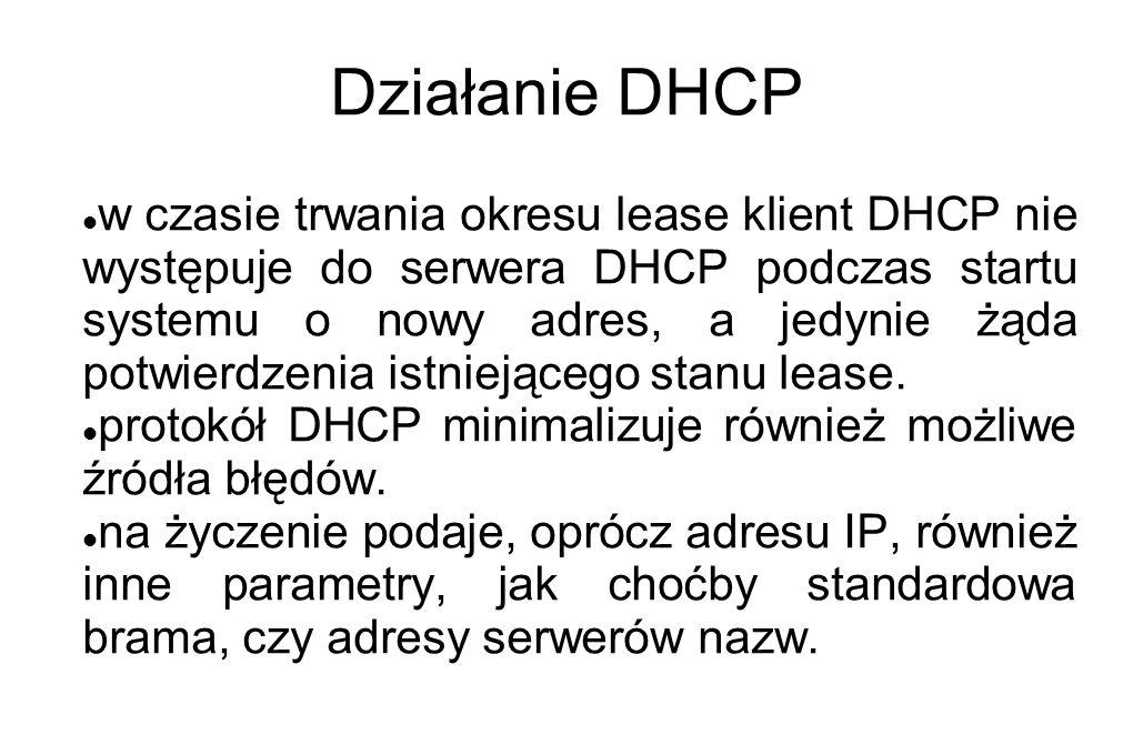 Działanie DHCP