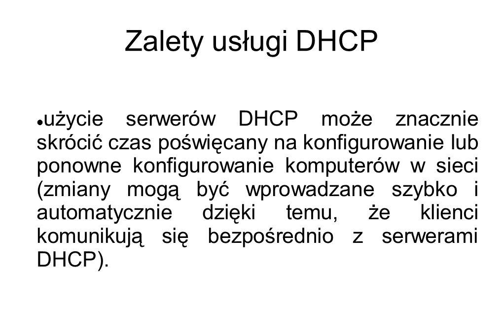 Zalety usługi DHCP