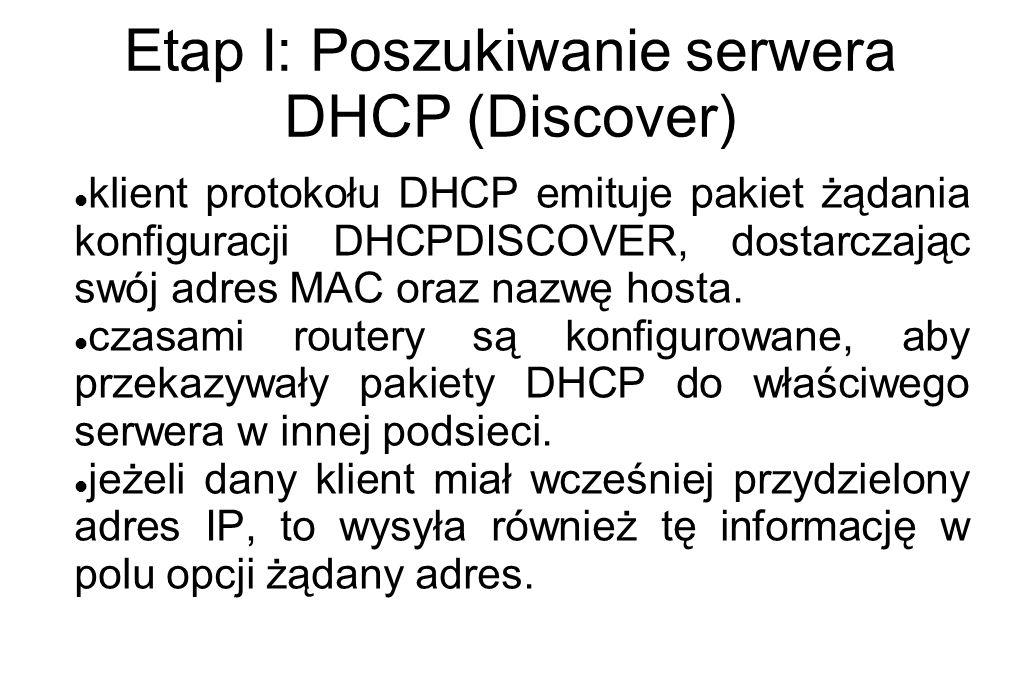 Etap I: Poszukiwanie serwera DHCP (Discover)