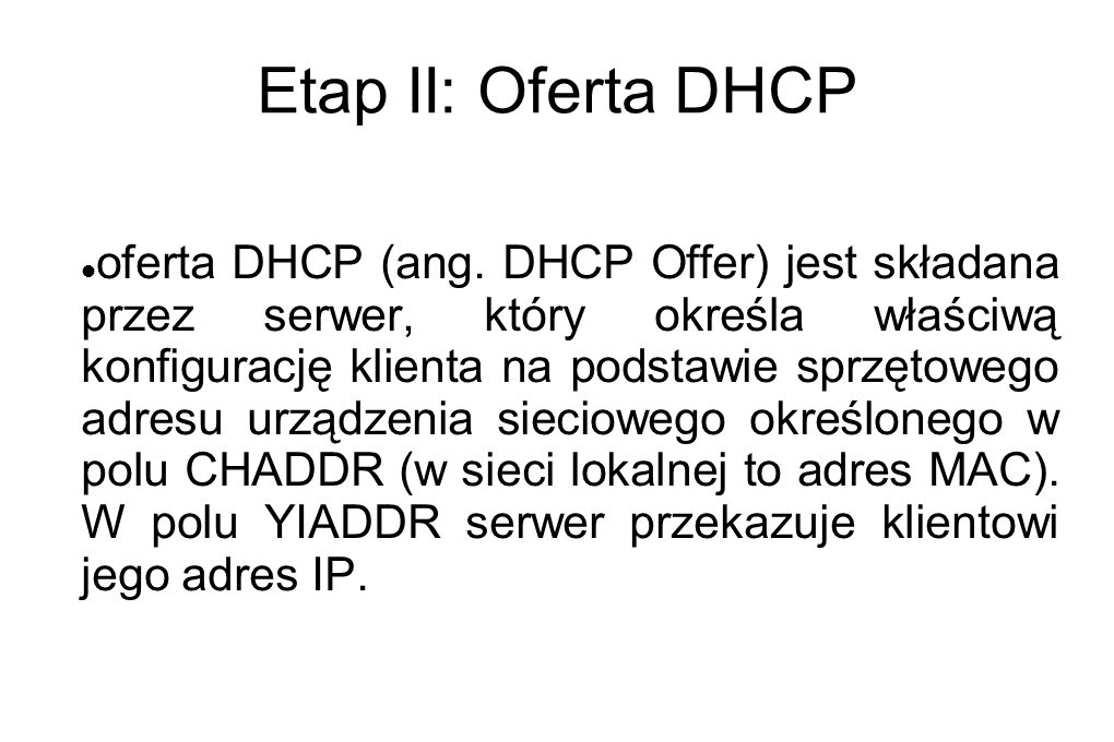 Etap II: Oferta DHCP