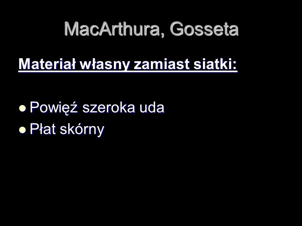MacArthura, Gosseta Materiał własny zamiast siatki: Powięź szeroka uda