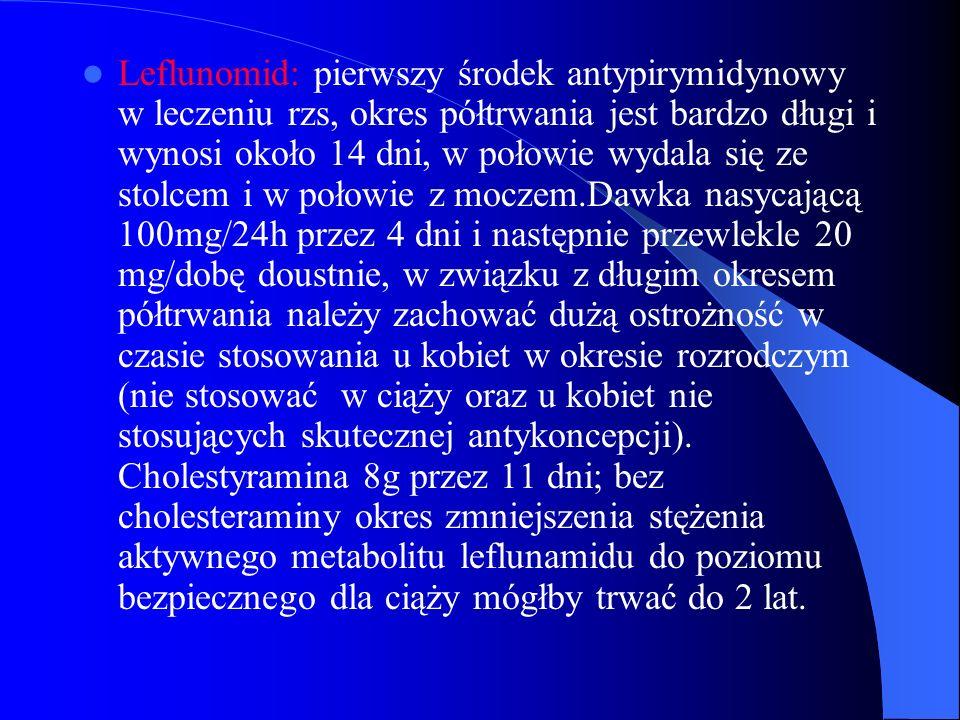 Leflunomid: pierwszy środek antypirymidynowy w leczeniu rzs, okres półtrwania jest bardzo długi i wynosi około 14 dni, w połowie wydala się ze stolcem i w połowie z moczem.Dawka nasycającą 100mg/24h przez 4 dni i następnie przewlekle 20 mg/dobę doustnie, w związku z długim okresem półtrwania należy zachować dużą ostrożność w czasie stosowania u kobiet w okresie rozrodczym (nie stosować w ciąży oraz u kobiet nie stosujących skutecznej antykoncepcji).