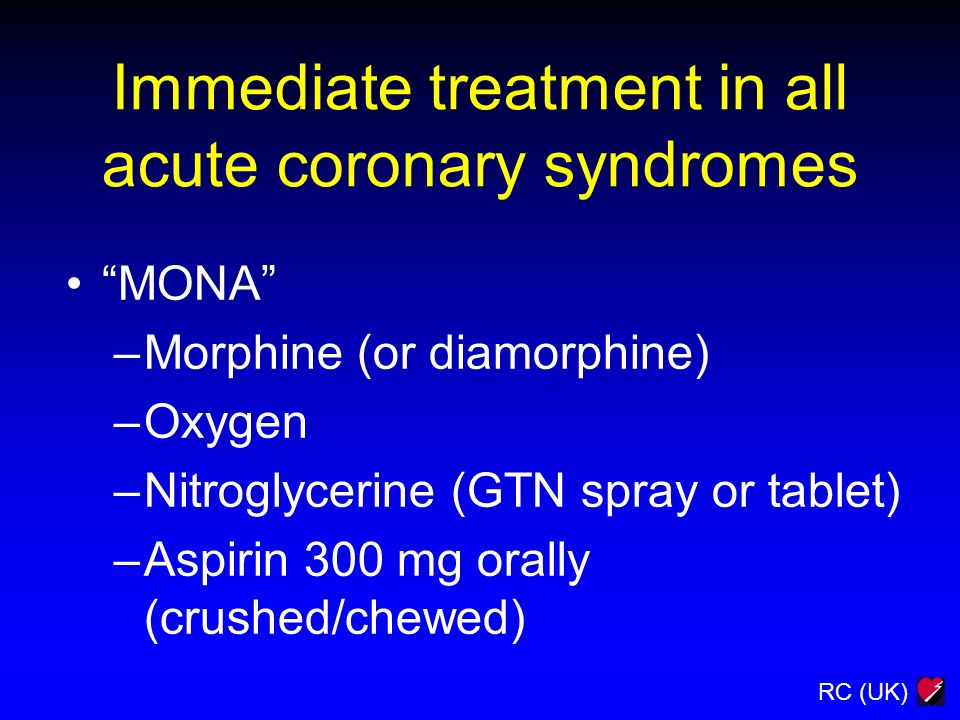Immediate treatment in all acute coronary syndromes
