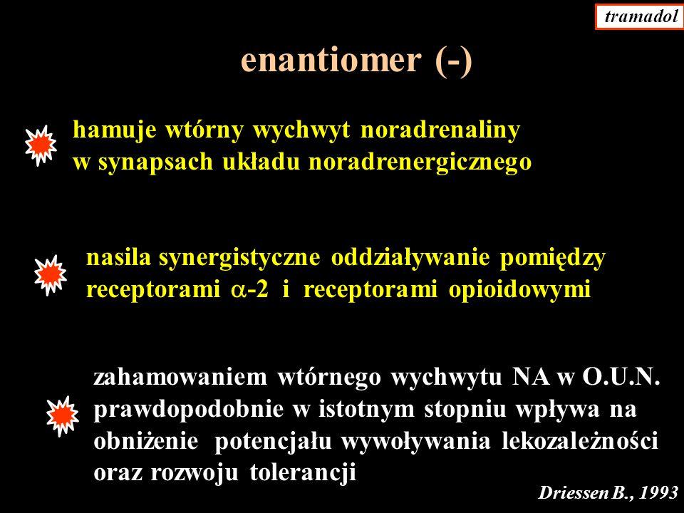 enantiomer (-) hamuje wtórny wychwyt noradrenaliny