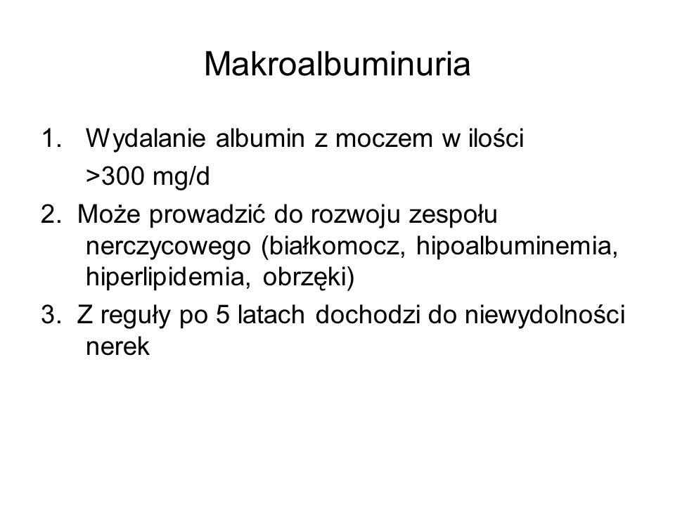 Makroalbuminuria Wydalanie albumin z moczem w ilości >300 mg/d