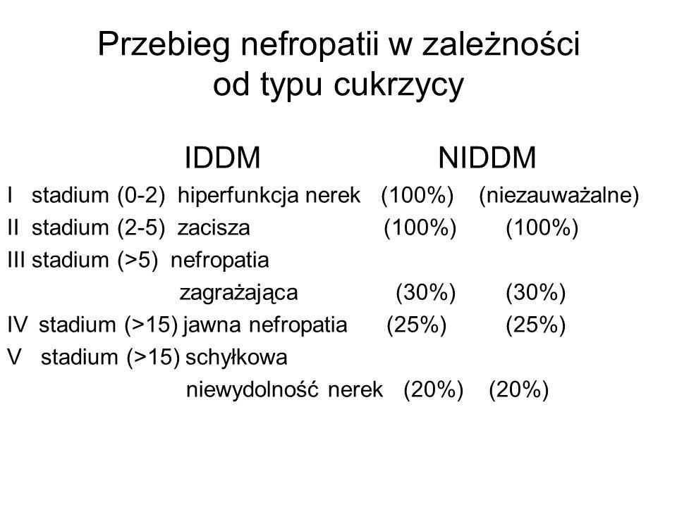 Przebieg nefropatii w zależności od typu cukrzycy