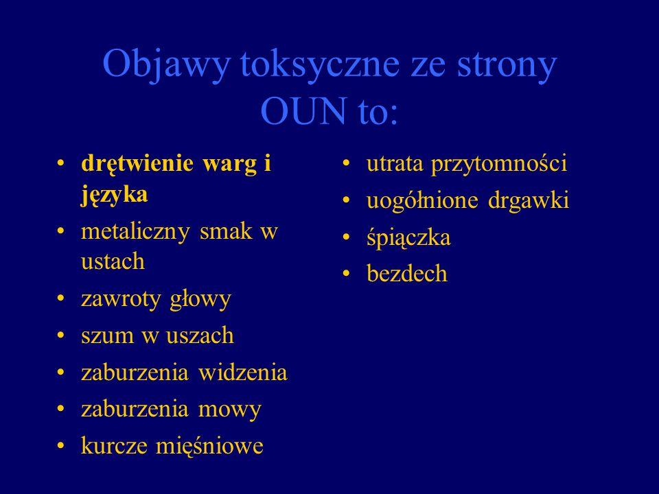 Objawy toksyczne ze strony OUN to: