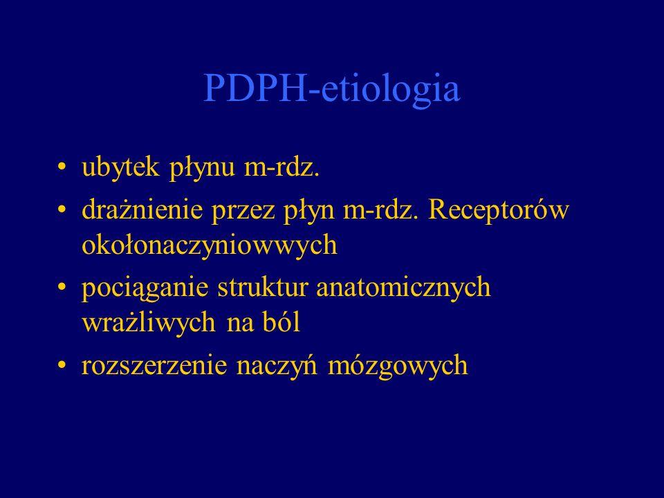 PDPH-etiologia ubytek płynu m-rdz.