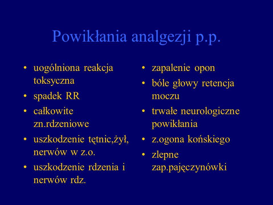 Powikłania analgezji p.p.
