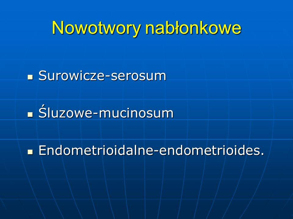 Nowotwory nabłonkowe Surowicze-serosum Śluzowe-mucinosum