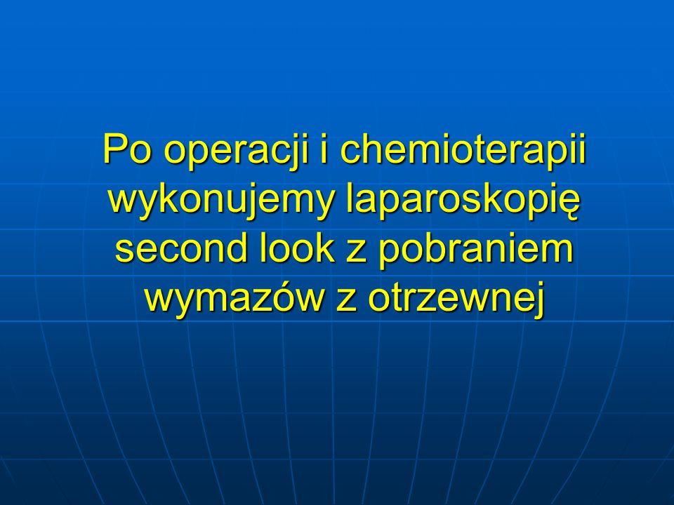 Po operacji i chemioterapii wykonujemy laparoskopię second look z pobraniem wymazów z otrzewnej