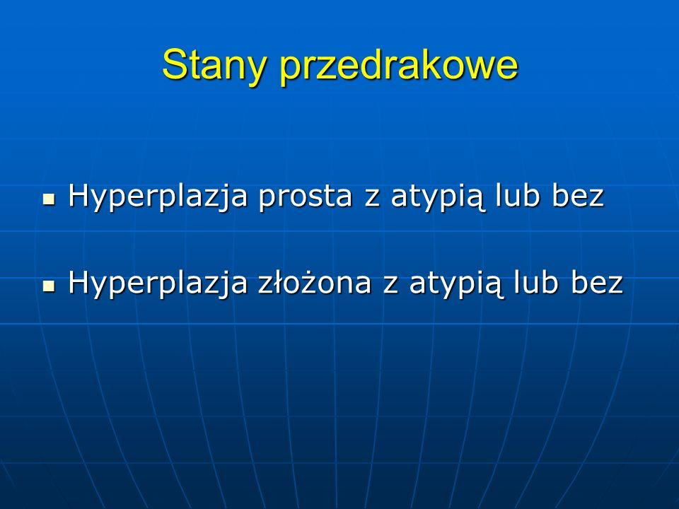 Stany przedrakowe Hyperplazja prosta z atypią lub bez