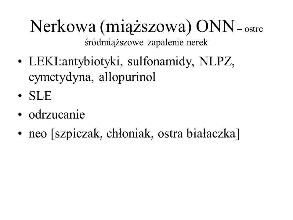Nerkowa (miąższowa) ONN – ostre śródmiąższowe zapalenie nerek