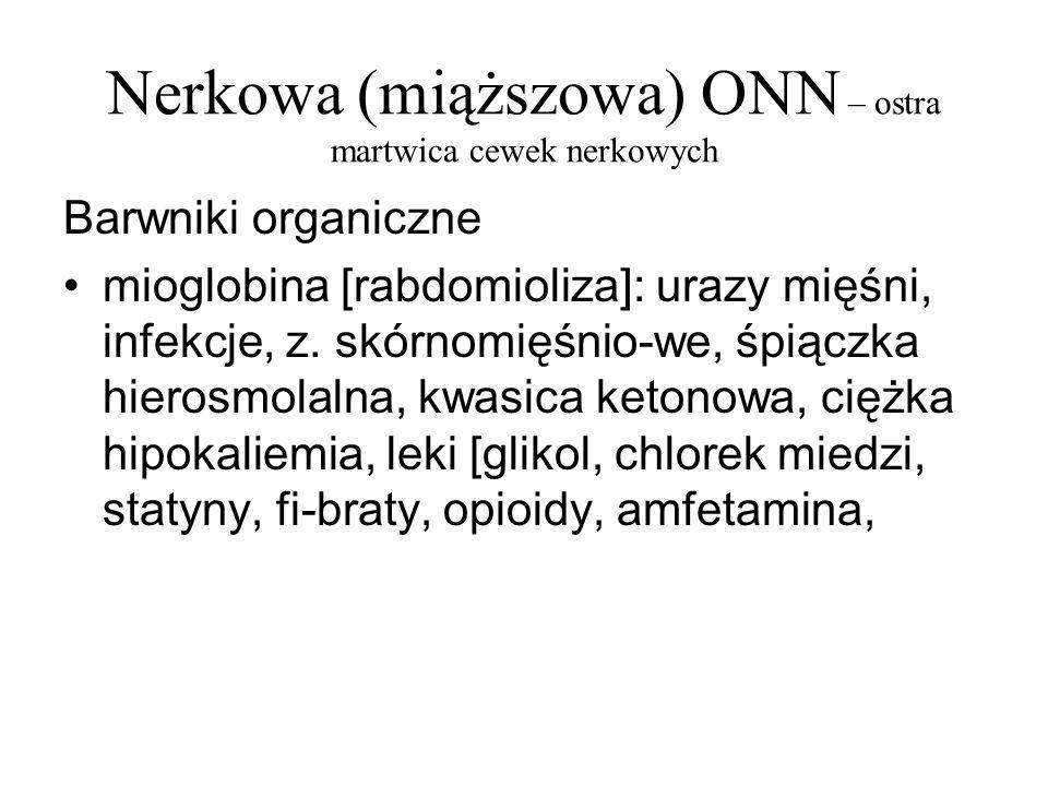 Nerkowa (miąższowa) ONN – ostra martwica cewek nerkowych