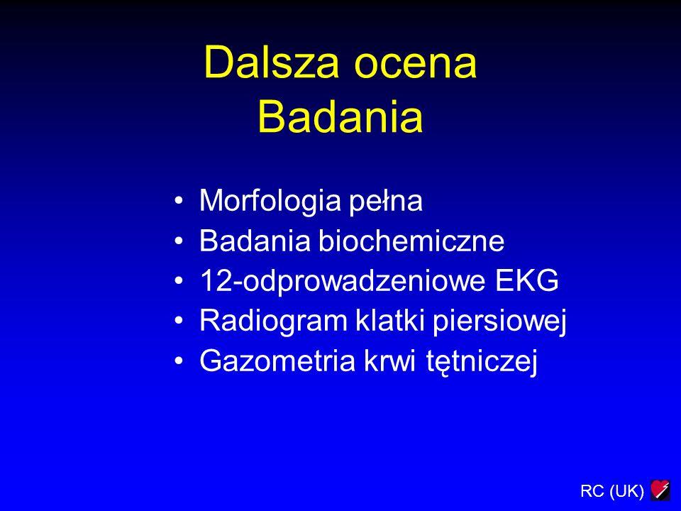 Dalsza ocena Badania Morfologia pełna Badania biochemiczne