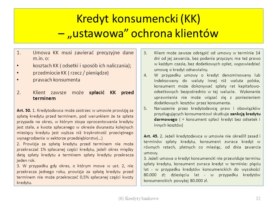 "Kredyt konsumencki (KK) – ""ustawowa ochrona klientów"