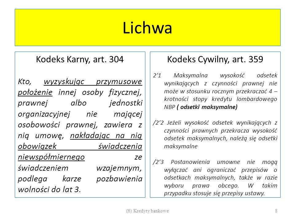 Lichwa Kodeks Karny, art. 304 Kodeks Cywilny, art. 359