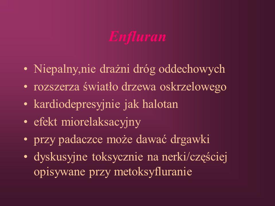 Enfluran Niepalny,nie drażni dróg oddechowych