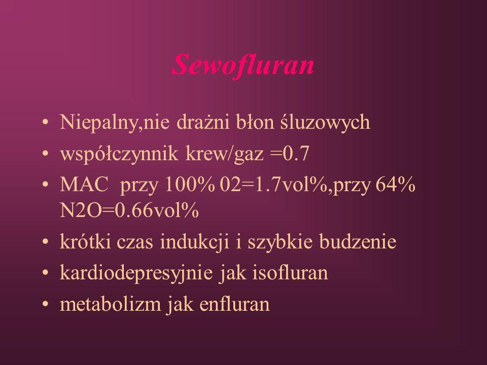 Sewofluran Niepalny,nie drażni błon śluzowych