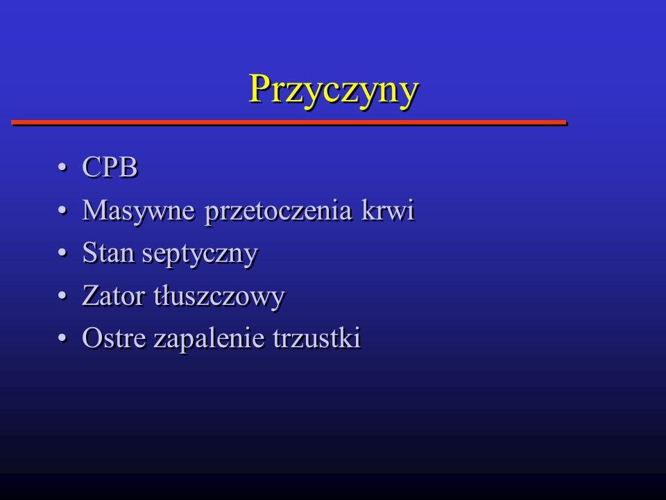 Przyczyny CPB Masywne przetoczenia krwi Stan septyczny