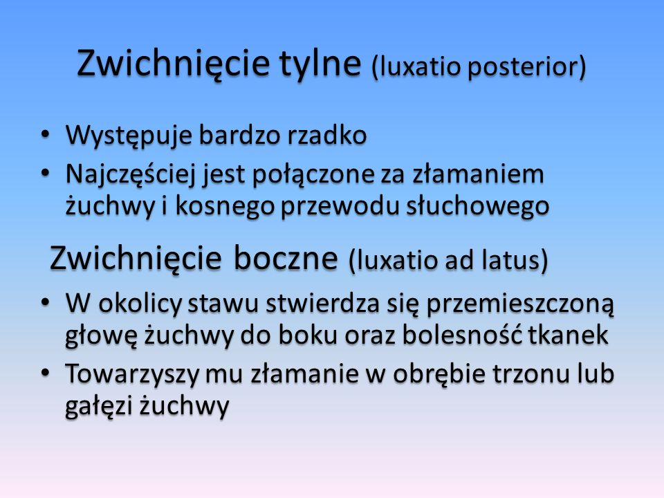 Zwichnięcie tylne (luxatio posterior)