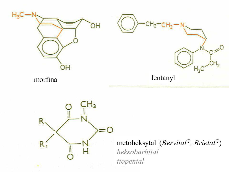 fentanyl morfina metoheksytal (Bervital®, Brietal®) heksobarbital tiopental