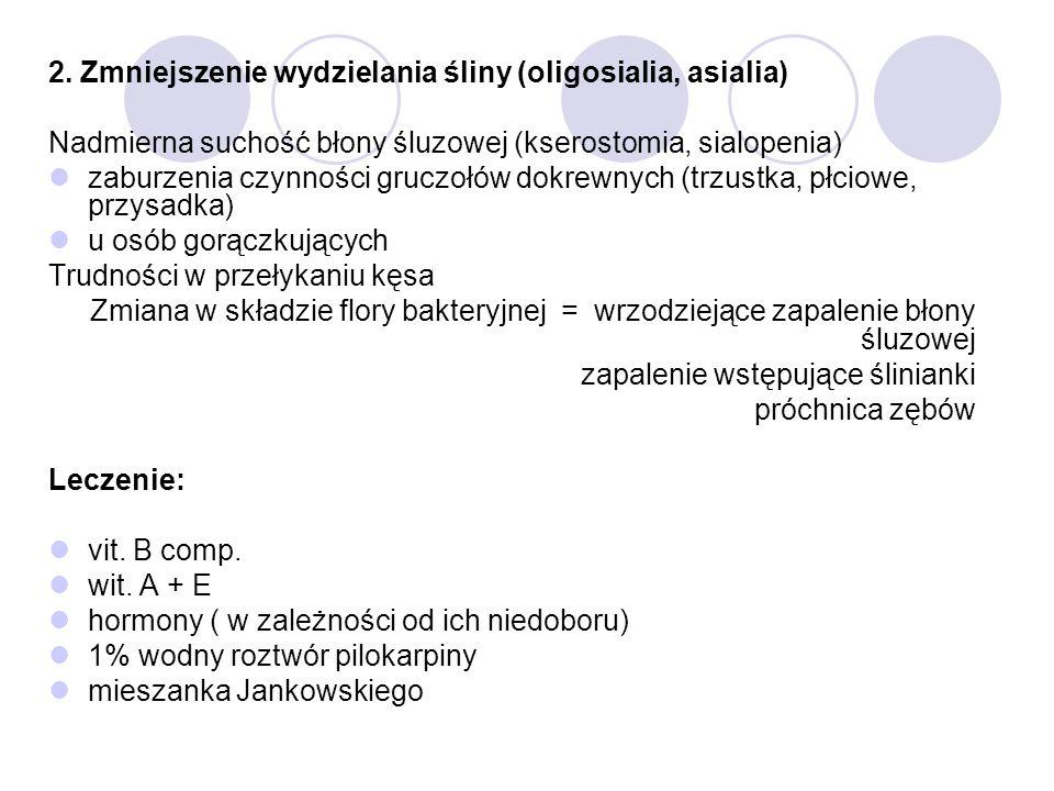 2. Zmniejszenie wydzielania śliny (oligosialia, asialia)