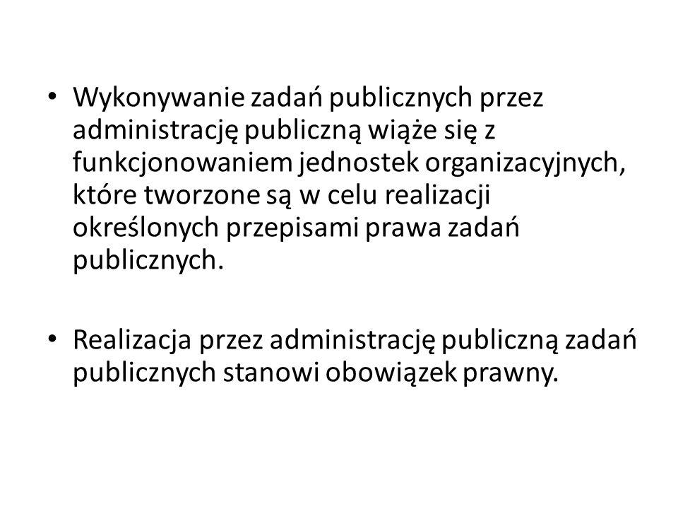 Wykonywanie zadań publicznych przez administrację publiczną wiąże się z funkcjonowaniem jednostek organizacyjnych, które tworzone są w celu realizacji określonych przepisami prawa zadań publicznych.