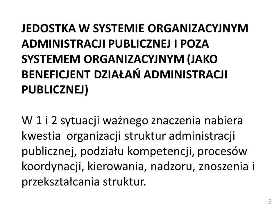 JEDOSTKA W SYSTEMIE ORGANIZACYJNYM ADMINISTRACJI PUBLICZNEJ I POZA SYSTEMEM ORGANIZACYJNYM (JAKO BENEFICJENT DZIAŁAŃ ADMINISTRACJI PUBLICZNEJ)