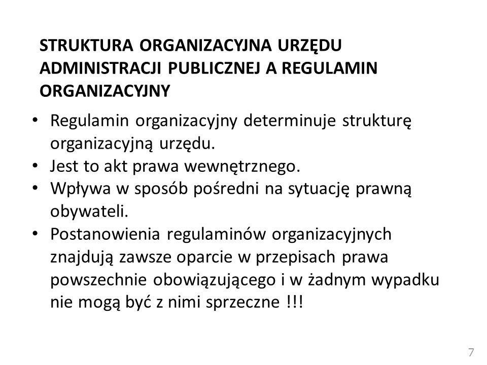 Regulamin organizacyjny determinuje strukturę organizacyjną urzędu.