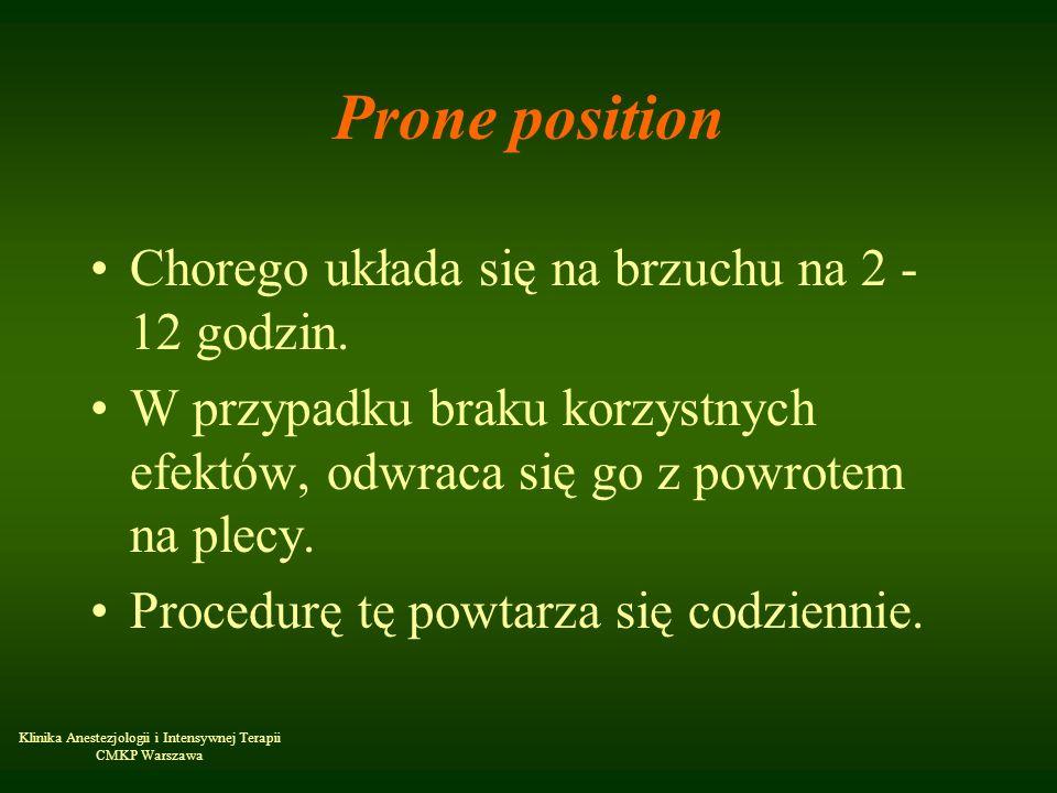 Prone position Chorego układa się na brzuchu na 2 - 12 godzin.