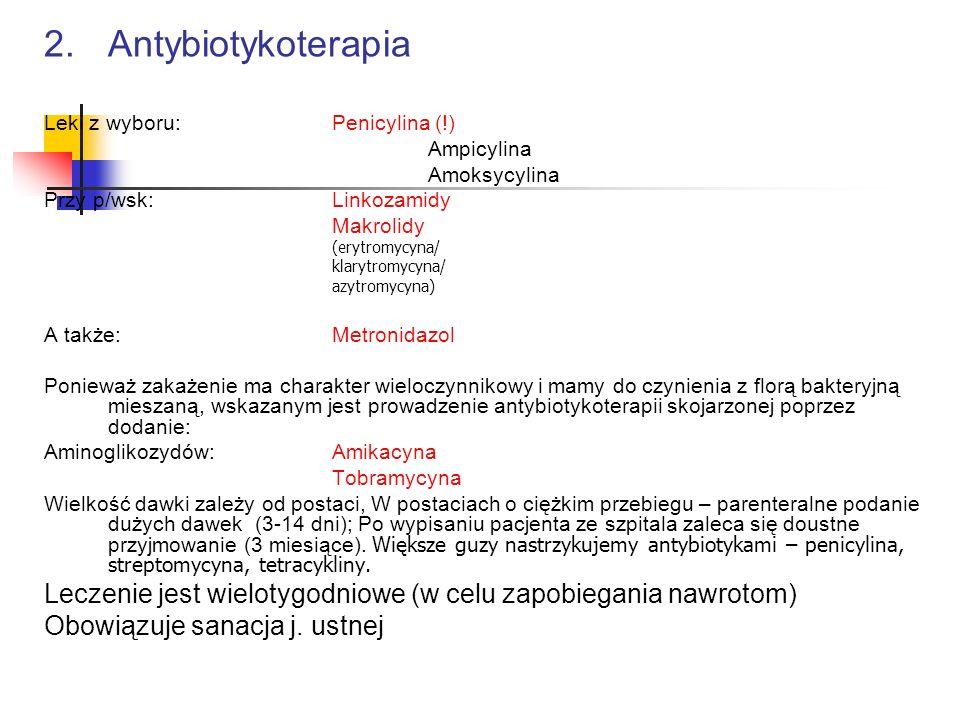 2. AntybiotykoterapiaLeki z wyboru: Penicylina (!) Ampicylina. Amoksycylina. Przy p/wsk: Linkozamidy.