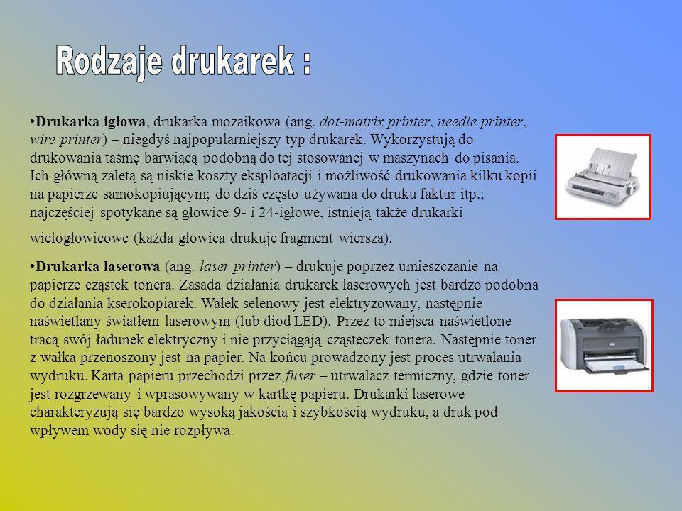 Rodzaje drukarek :