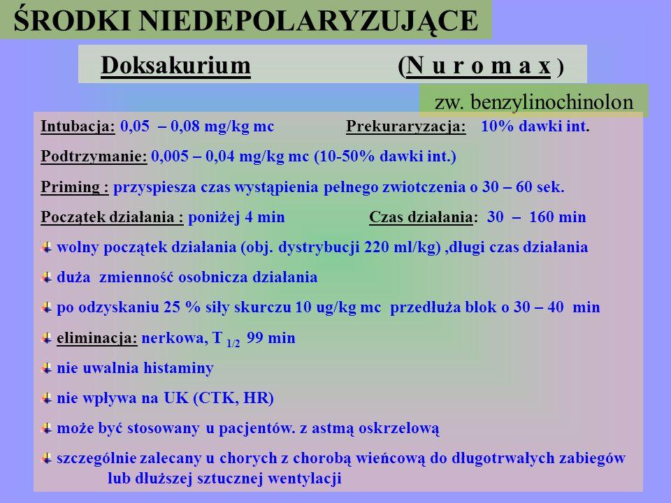 ŚRODKI NIEDEPOLARYZUJĄCE Doksakurium (N u r o m a x )