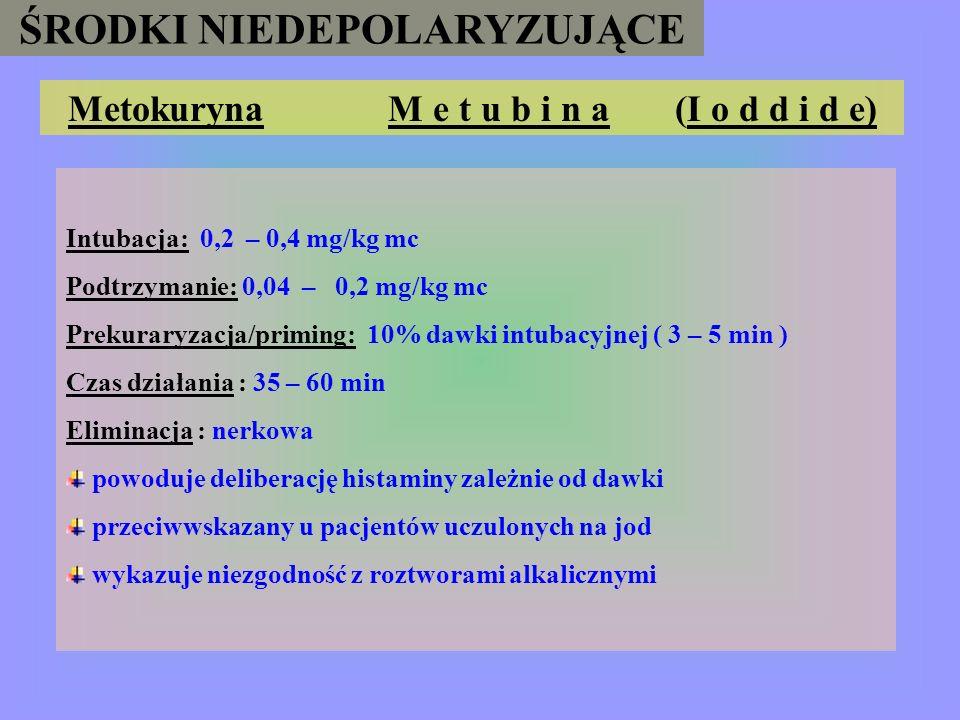 ŚRODKI NIEDEPOLARYZUJĄCE Metokuryna M e t u b i n a (I o d d i d e)