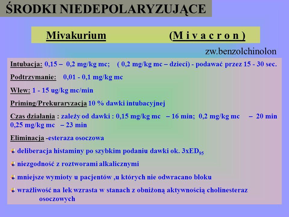 ŚRODKI NIEDEPOLARYZUJĄCE Mivakurium (M i v a c r o n )