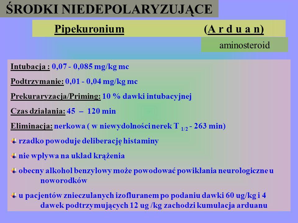ŚRODKI NIEDEPOLARYZUJĄCE Pipekuronium (A r d u a n)