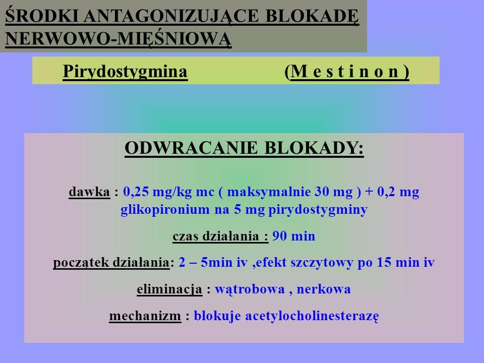 Pirydostygmina (M e s t i n o n ) ODWRACANIE BLOKADY: