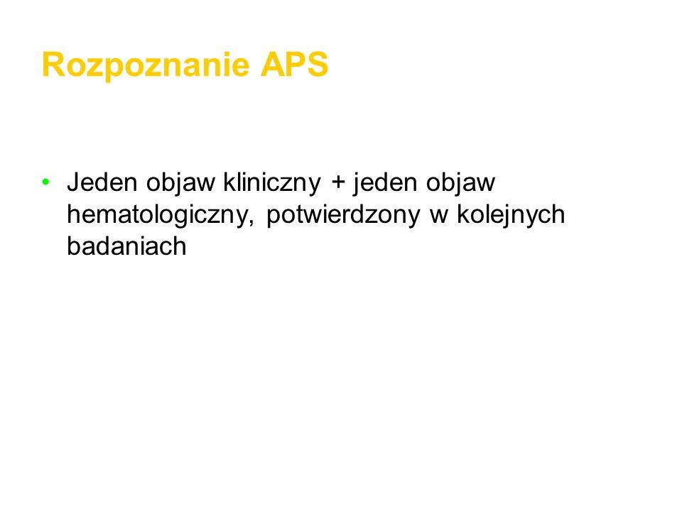 Rozpoznanie APS Jeden objaw kliniczny + jeden objaw hematologiczny, potwierdzony w kolejnych badaniach.
