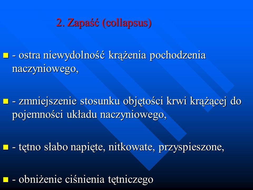 2. Zapaść (collapsus) - ostra niewydolność krążenia pochodzenia naczyniowego,