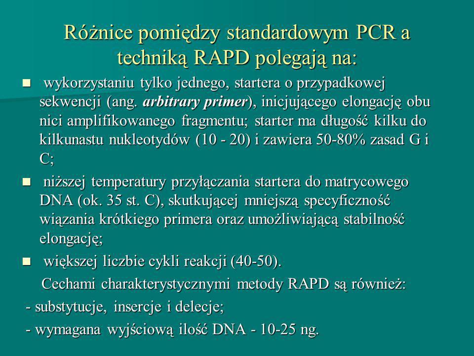 Różnice pomiędzy standardowym PCR a techniką RAPD polegają na: