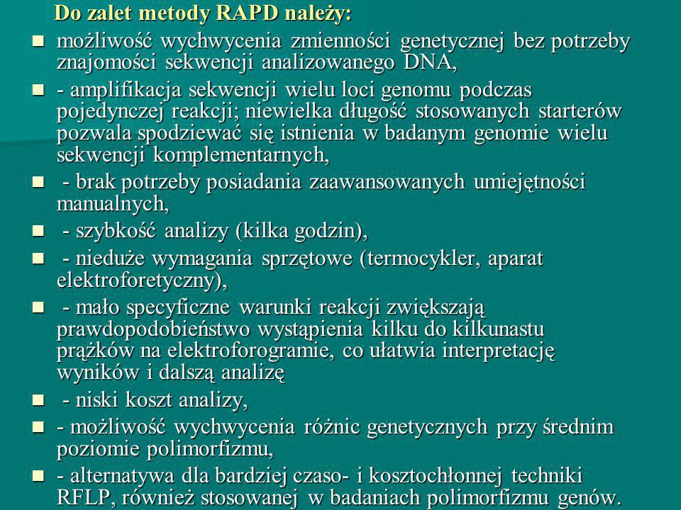 Do zalet metody RAPD należy: