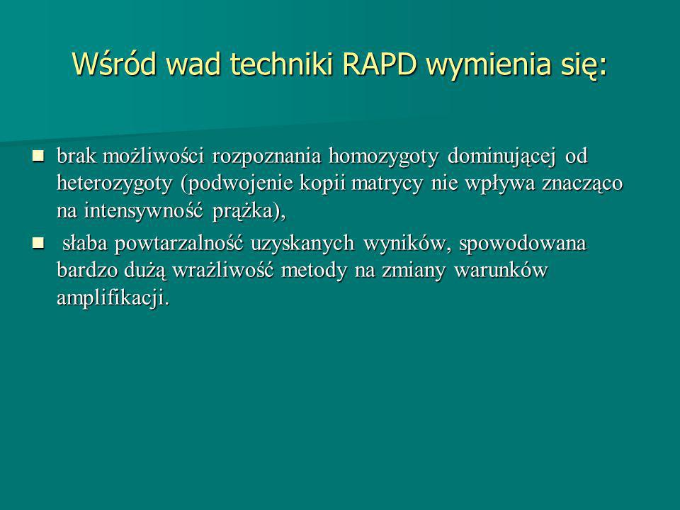 Wśród wad techniki RAPD wymienia się: