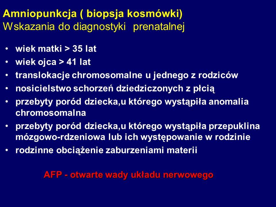 Amniopunkcja ( biopsja kosmówki) Wskazania do diagnostyki prenatalnej