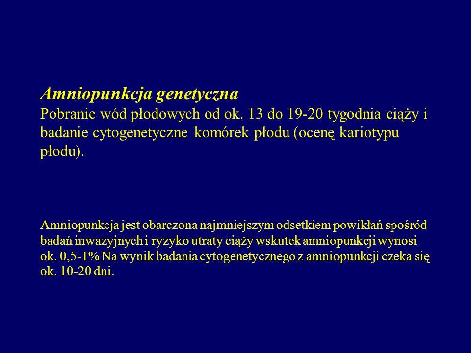 Amniopunkcja genetyczna Pobranie wód płodowych od ok