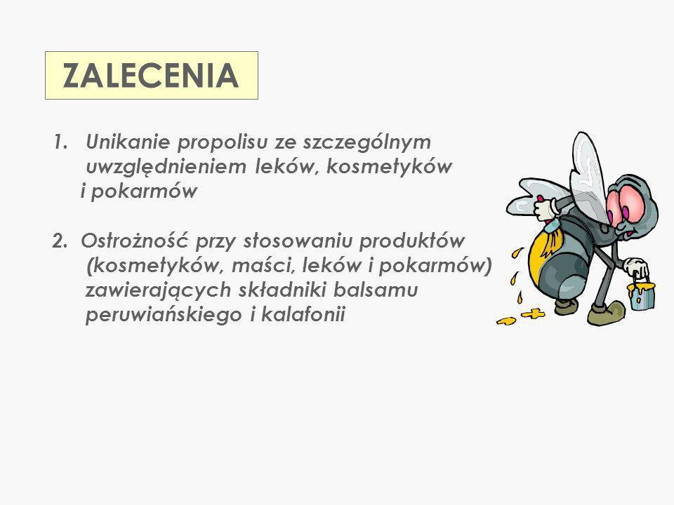 ZALECENIA Unikanie propolisu ze szczególnym uwzględnieniem leków, kosmetyków. i pokarmów.