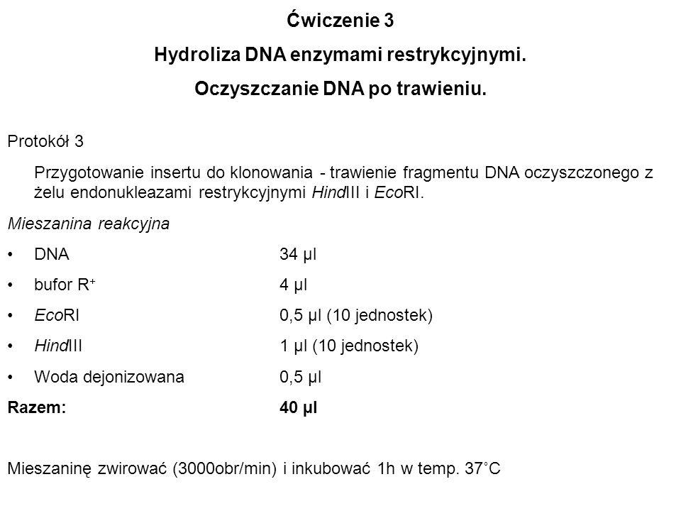 Hydroliza DNA enzymami restrykcyjnymi. Oczyszczanie DNA po trawieniu.