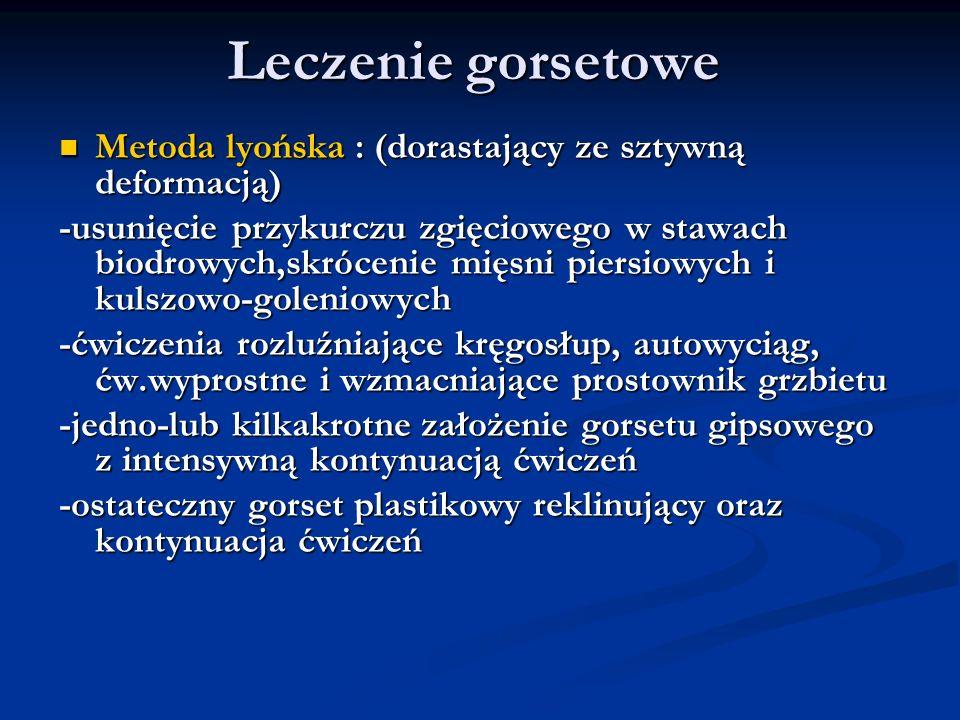 Leczenie gorsetowe Metoda lyońska : (dorastający ze sztywną deformacją)